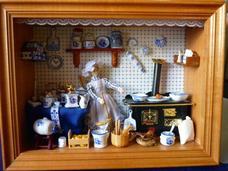 Miniatur Möbel Omas KÜCHE Esszimmer Komplett Holzbild Porzellan Wandbild ❤  | EBay