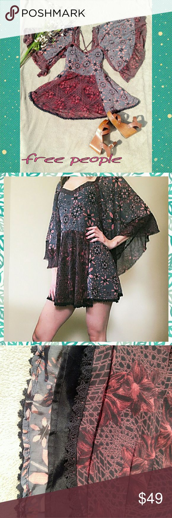 *RARE* Free People Heart Of Gold Dress-extra small Stay golden in the Heart of Gold Mini Dress from Free People. The printed bell sleeve dress has a crisscross back detail, edgy raw trim for a versatile, boho chic look. Throw it on for all your summer concerts or a date night with your sweetheart.  100% Rayon Free People Dresses Mini
