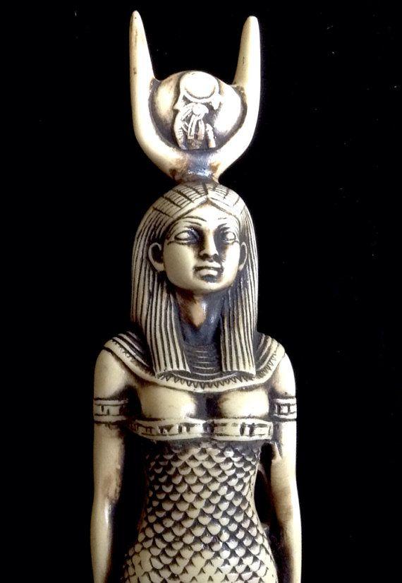 Vintage Hathor Isis Egyptian Goddess Large Statue by BluNile