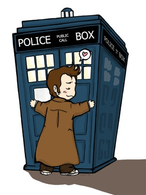 10th Doctor hugging the TARDIS