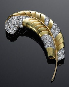 Yellow Gold and Diamond Retro Feather Brooch, circa 1940s