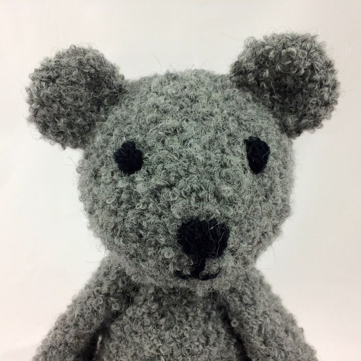 Grey soft teddy bear perfect to cuddle!  Crocheted with natural alpaca fiber.
