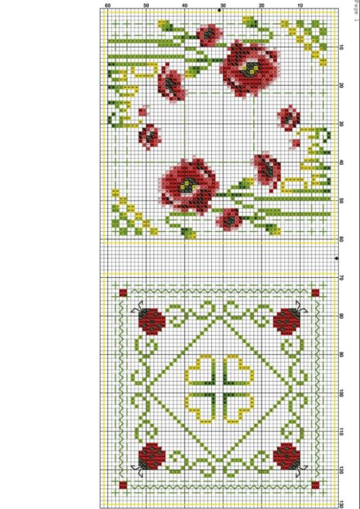 Cross-stitch Poppy Biscornu Set... no color chart available, just use pattern chart as you color guide... or choose your own colors...