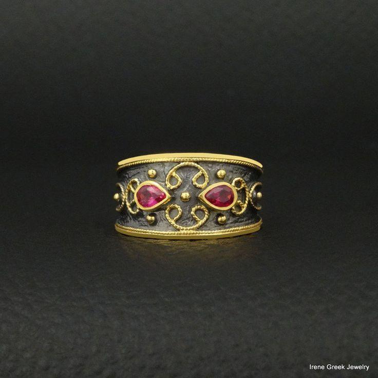 RUBY CZ BYZANTINE 925 STERLING SILVER 22K GOLD & BLACK RHOSIUM PLATED GREEK RING #IreneGreekJewelry #Band