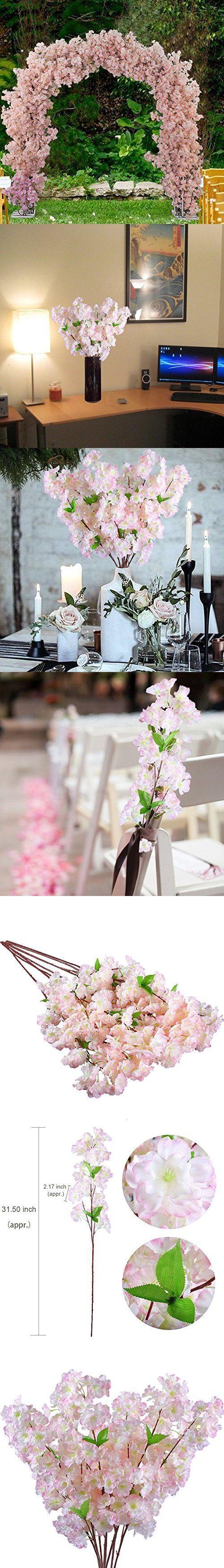 GTidea 31.5'' 8PCS Artificial Silk Spring Cherry Blossom Natural Looking Faux Long Stems Flowers Arrangements Home Kitchen Table Office Wedding Centerpieces Decor Light Pink