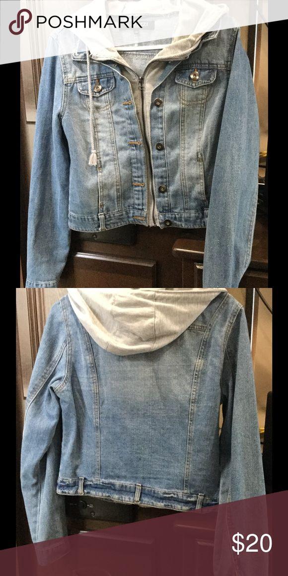 Blue jean jacket Blue jean jacket with built in grey hoodie Jackets & Coats Jean Jackets