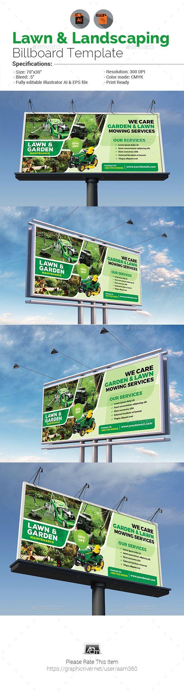 Design large banner in illustrator - Lawn Landscaping Billboard Ai Illustratorbillboard Designsignage