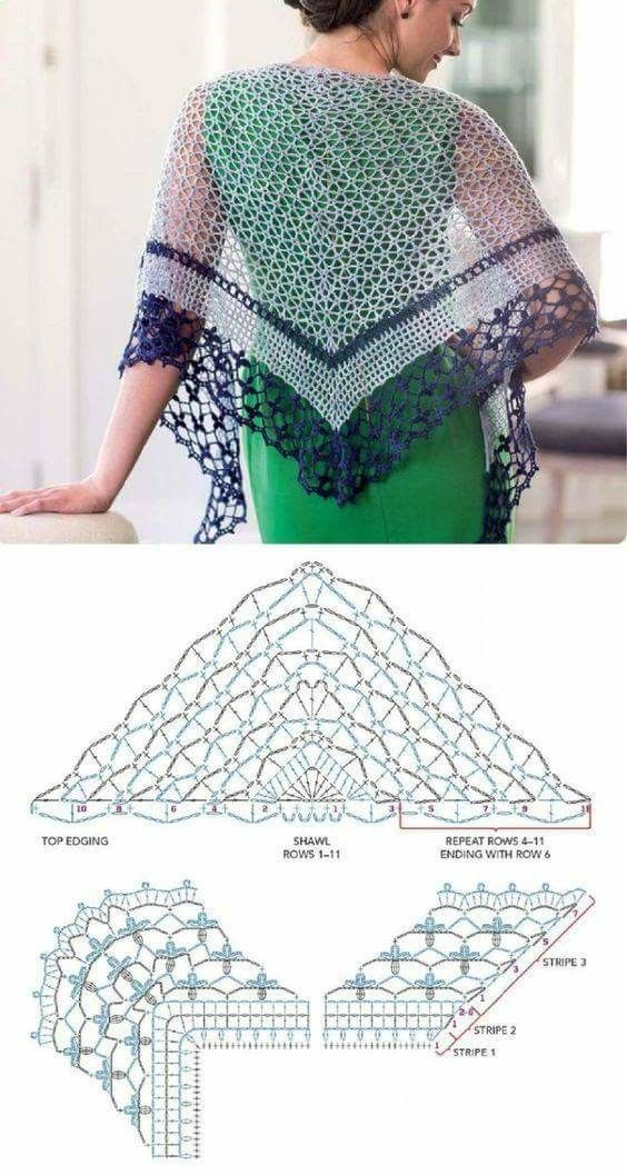 334 best Chusty images on Pinterest | Crochet shawl, Crochet ...