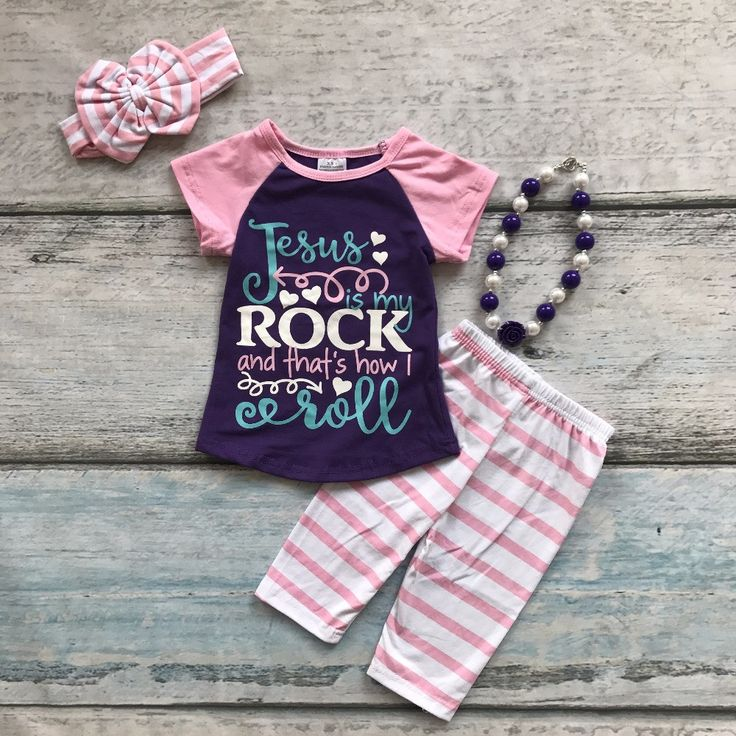 summer baby girls outfits Jesus rock kids with matching necklace and bow