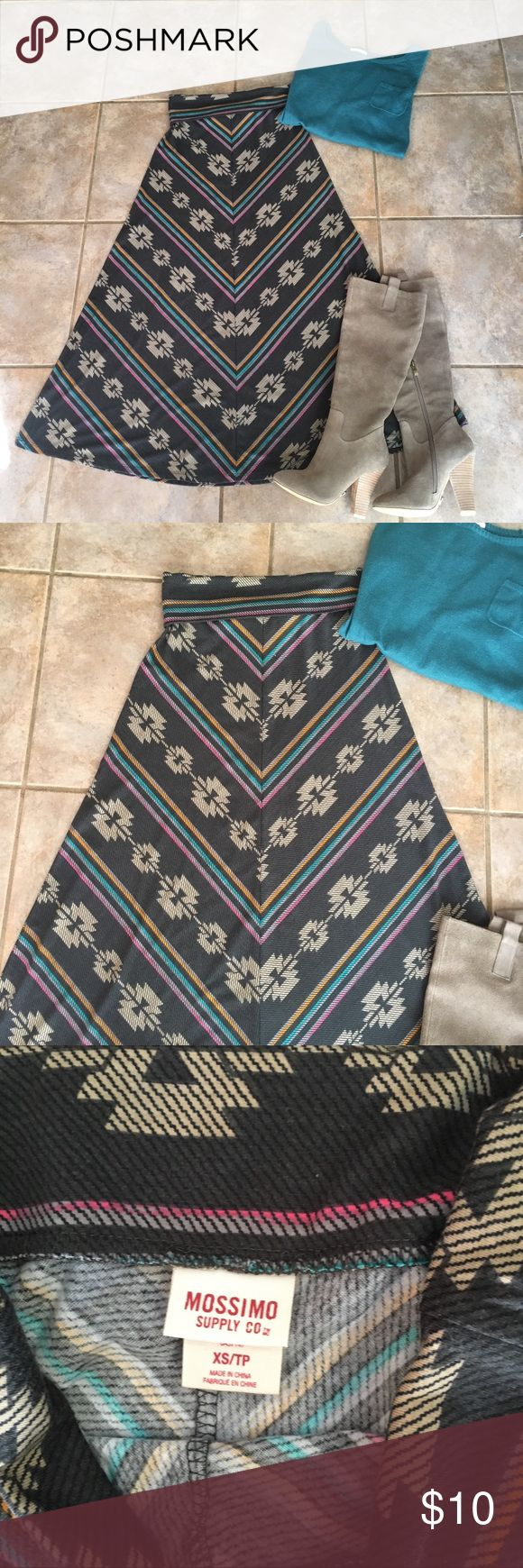 Tribal Maxi Skirt Awesome colors and pattern. Never worn. It's just been hanging in my closet. Skirts Maxi #FullMoonandJustMoon
