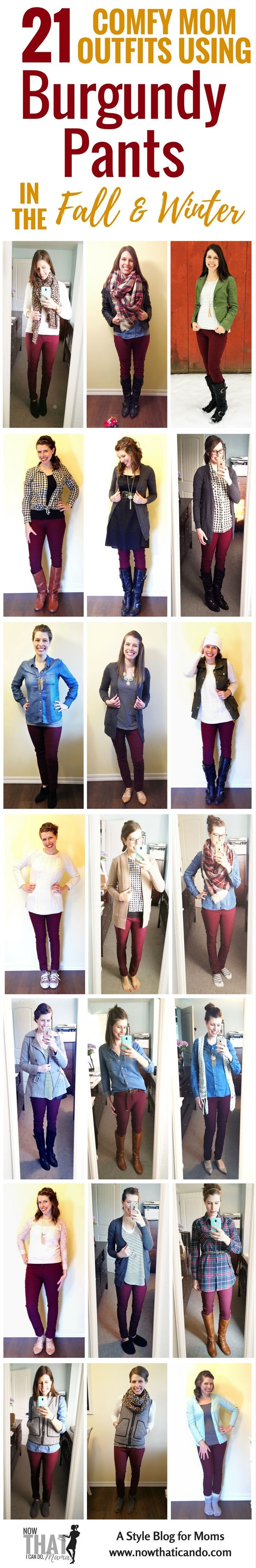 Are you a #mom and don't know what to wear with your wine #burgundy #pants? Here are 20 outfit ideas including infographics on colors, patterns, and shoes to style maroon/burgundy pants. Written with moms in mind! The blog post has lots of examples and gives this printable cheatsheet download for free! #style #outfits #winter #fall