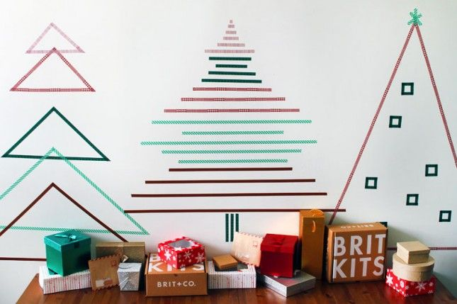 create wall christmas trees with washi tape...