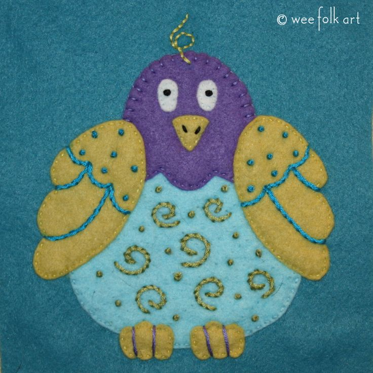 Our simple Folk Art Bird Applique will surely make you smile no matter where you choose to applique him. Part of our Folk Art Pet Collection.
