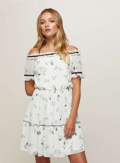 £12, was £39. Floral tiered bardot dress  #bardotdress #sale #afflink