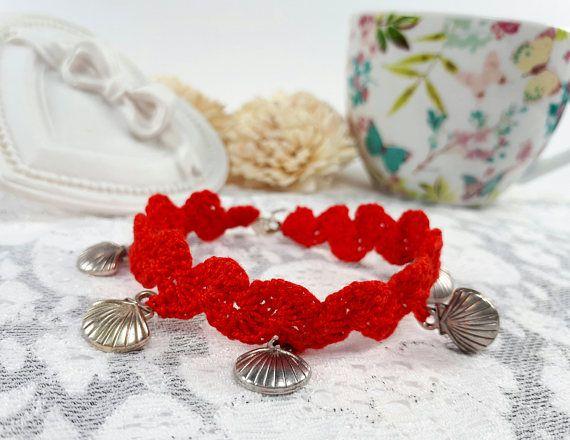 Red seashell bracelet summer bracelet red crochet jewelry