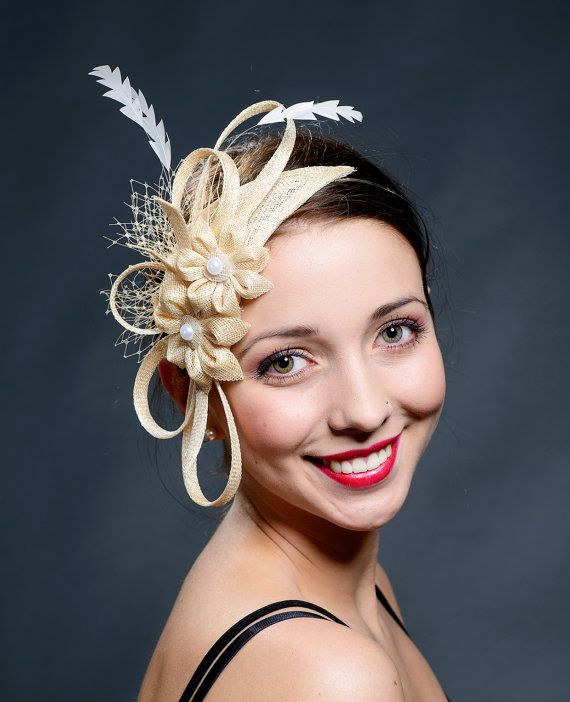 Beige champagne gold fascinator hat for weddings by MargeIilane