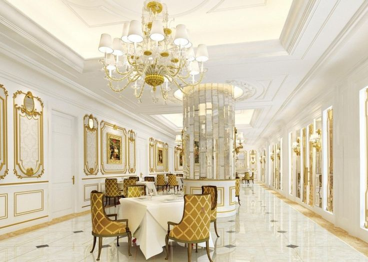 124 best images about interiors white and gold on for Dining hall wall design