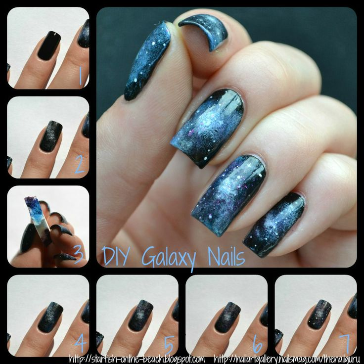 Galaxy Nails Tutorial By Starfish On The Beach Beauty Of Nail Art Pinterest And Challenge