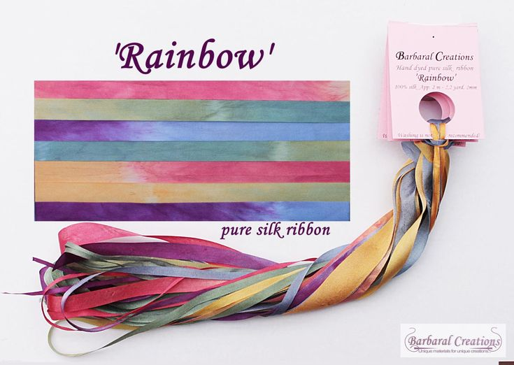 Hand dyed 13 mm wide pure silk ribbon - 'Rainbow' by BarbaralCreations on Etsy #puresilk #silkribbon #handdyedsilk #barbaralcreations