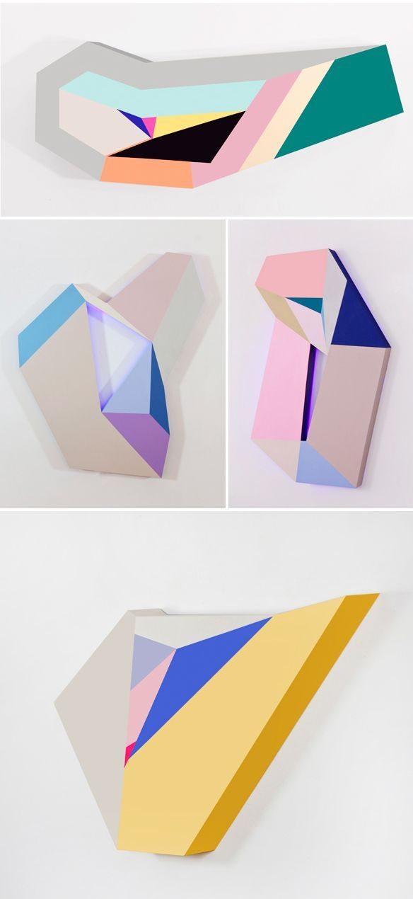 Bold, colorful, graphic paintings that literally pop off the wall! These are the painted wood pieces of New York based Korean artist Zin Helena Song… love! And speaking of love, scroll back up a tiny