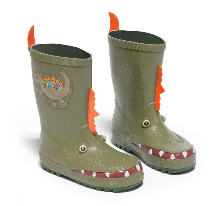 Let your kids splash into spring with Kidorable Rain Boots!  So Cool!!! (http://bluegiraffeboutique.com/products/kids-rain-boots-dinosaur-kidorable.html)