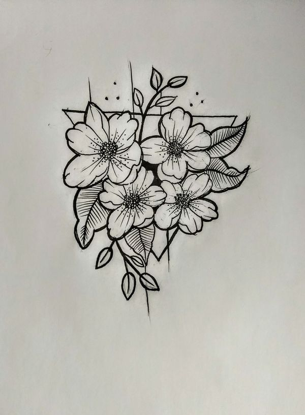 Plantilla Flores Tatto Flores Dibujadas A Lapiz Tatuajes Florales Tatuajes De Arte Corporal