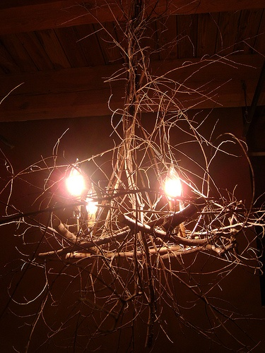 Homemade stick chandelier!