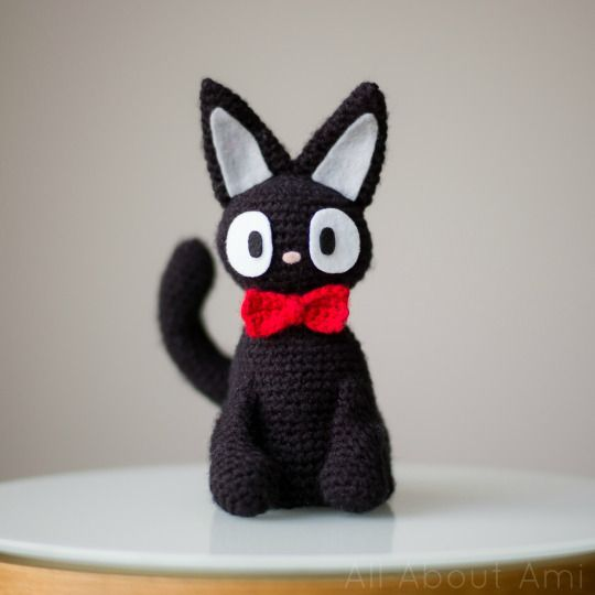 "Crochet this adorable Jiji the Black Cat from ""Kiki's Delivery Service"", perfect for Halloween! Link to free pattern available!"