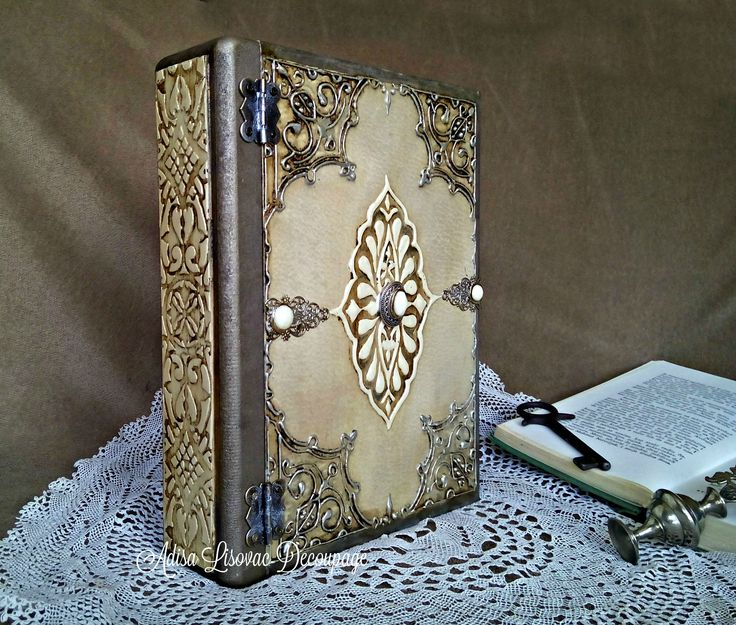old antique book box decoupage vintage shabby chic Adisa Lisovac Decoupage