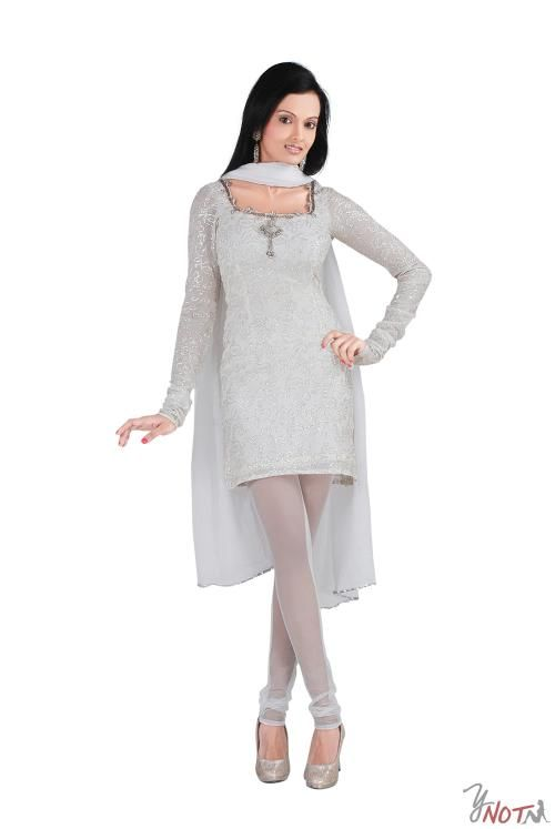 White Chiffon Full Sleeve Kurta By : Neha Kamal Sharda Description  White chiffon full-sleeved kurta with embroidery all over and transparent net churidar along with white silver bordered dupatta.