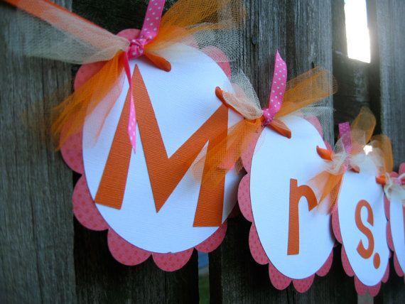 Teacher Name Banner  Or Bridal Shower Banner  by ElegantEvee, $22.00