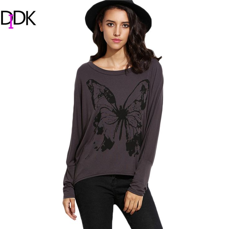 DIDK Casual T-shirts For Women 2016 Autumn Tops Grey Butterfly Print Round Neck Long Batwing Sleeve High Low T-shirt