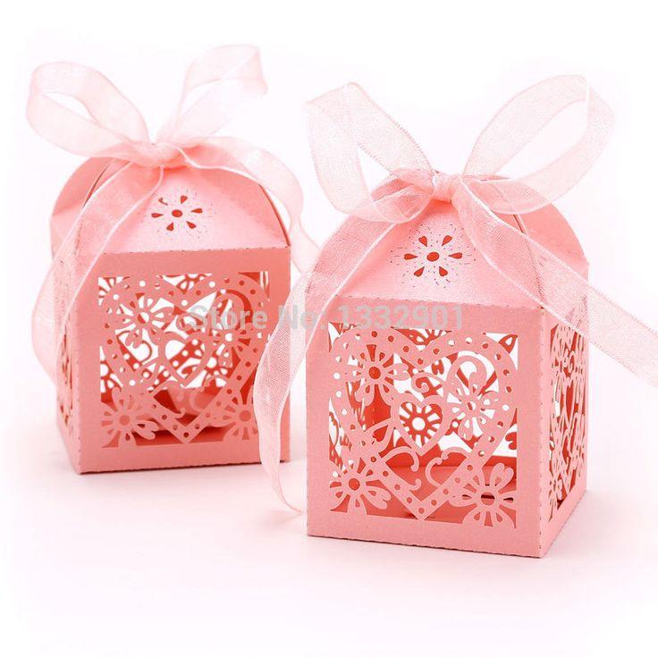 25x розовые бумажные коробочки с узором в форме сердца для свадебных конфет и небольших подарков