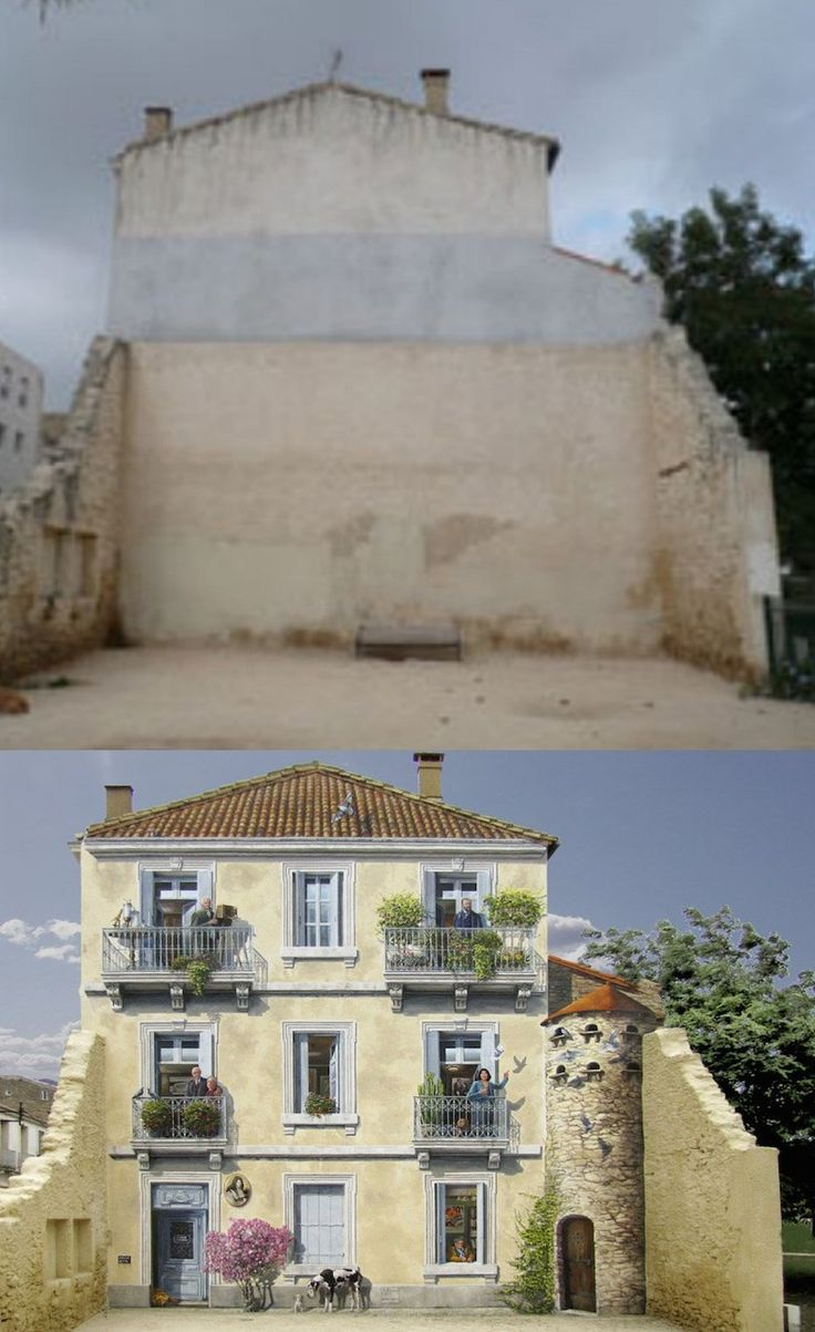 Street Art by Franceses de Patrick Commecy in France (before and after)