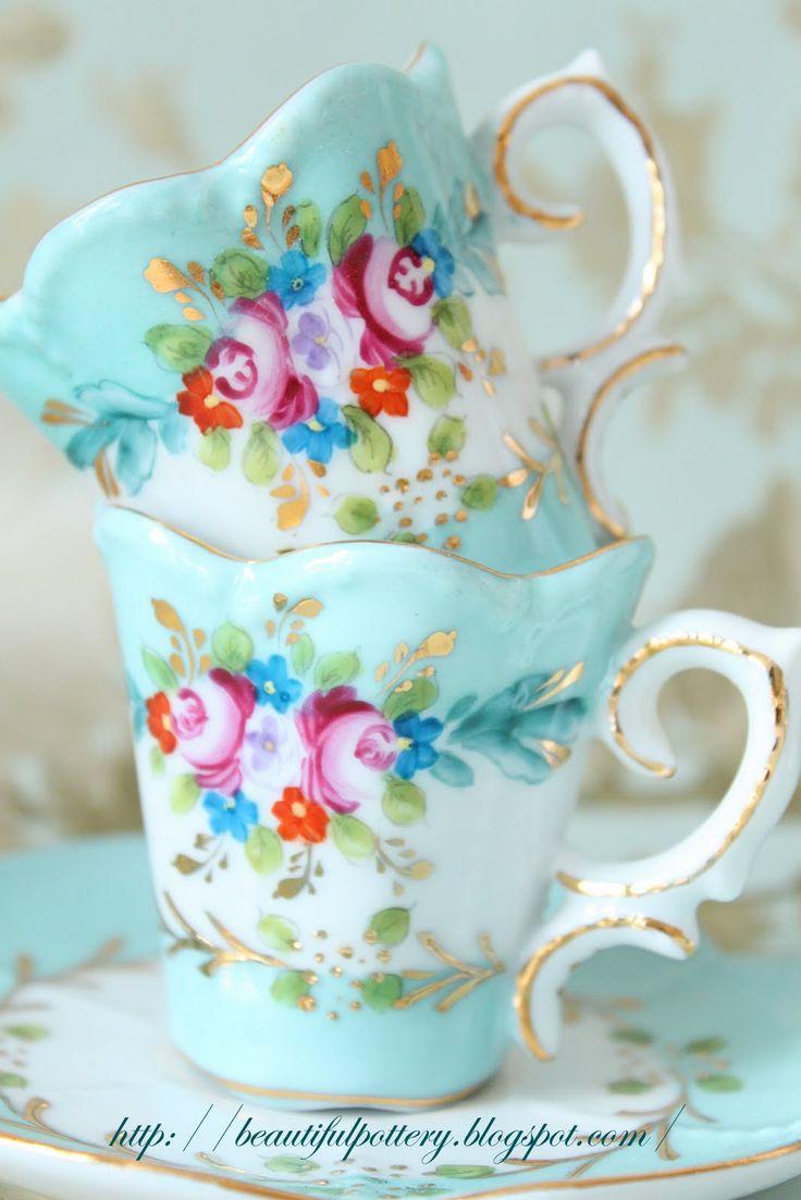 mint & gold & roses :: vintage tea set