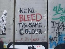 love blood graffiti quote life text fashion hipster words vintage street Grunge picture Racist we all color disposable same bus pale bleed indi soft grunge