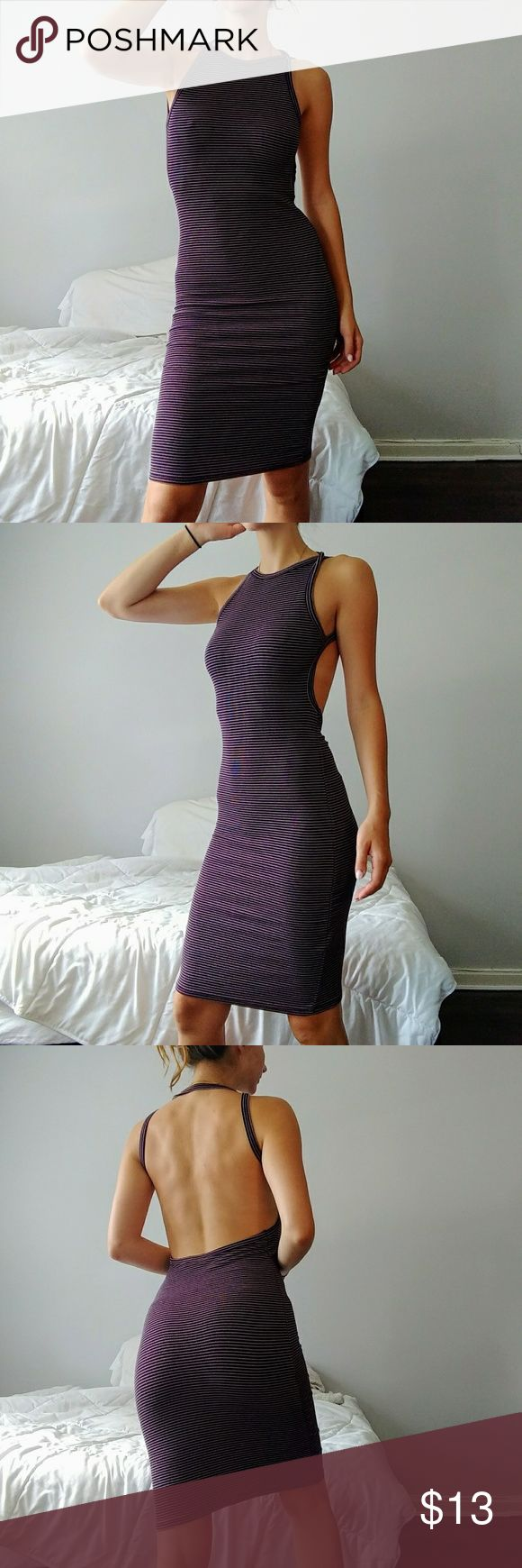 DONT ASK WHY PURPLE BODYCON DRESS Purple striped rib bodycon dress. Completely open back and sexy! Worn only once great condition. Great for going out and comfy. One size but would easily for a small or medium. Don't Ask Why Dresses Backless