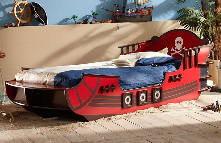 Cama infantil barata con forma barco pirata