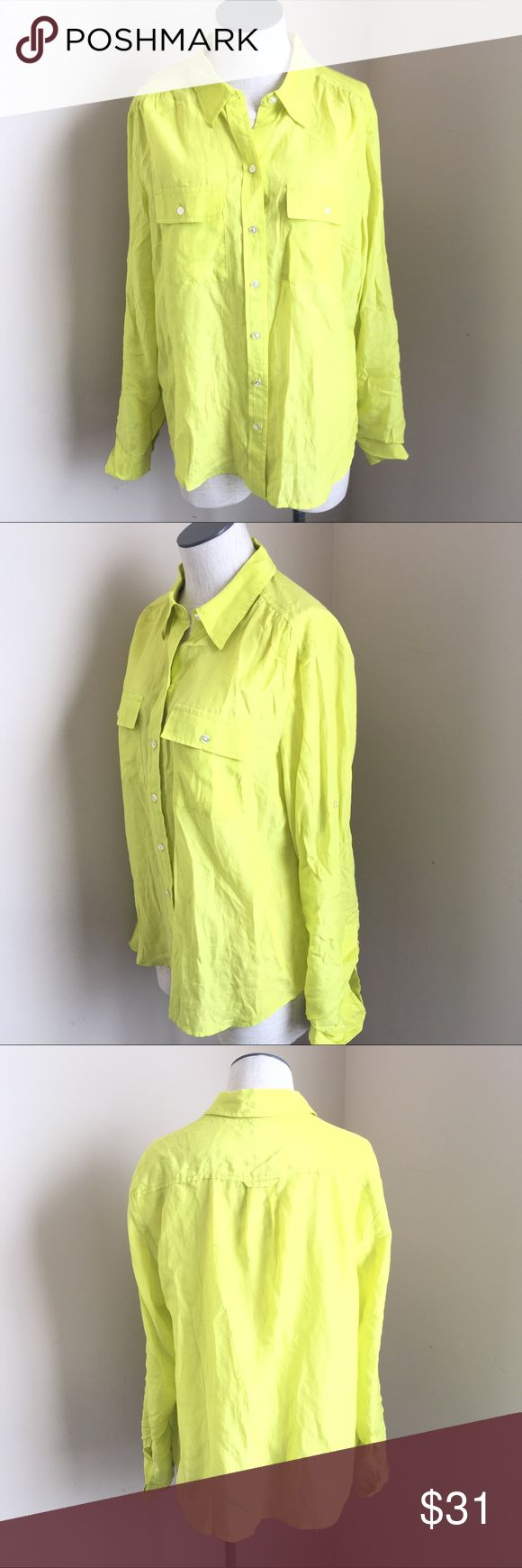 ANN TAYLOR BUTTON Down SHIRT Lime Green Silk Button down Ann Taylor shirt. The color is a neon lime green/yellow. 52%  Silk 48% Cotton. Long sleeve with roll up option. Excellent condition. Perfect for Spring. Ann Taylor Tops Button Down Shirts