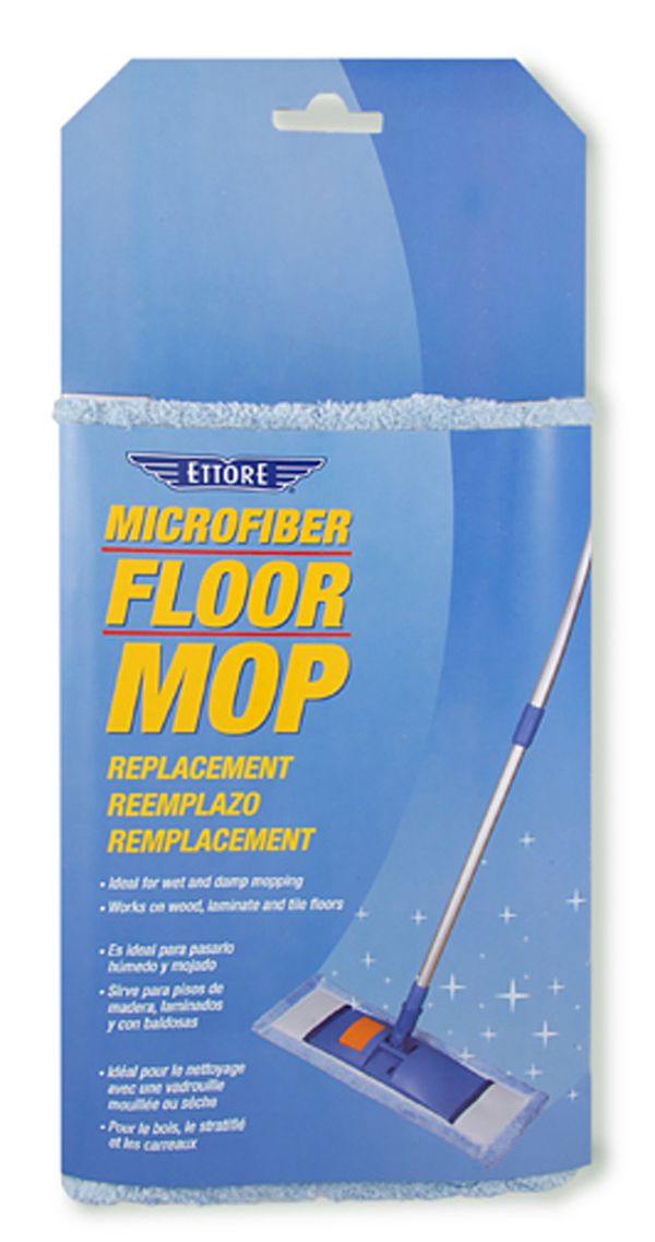 Ettore's Microfiber Floor Mop (78500) and Replacement Covers (78510) are ideal for wet and damp mopping and work on tile, wood and laminate. Cover is machine washable. #ettore #microfiber #floorcare