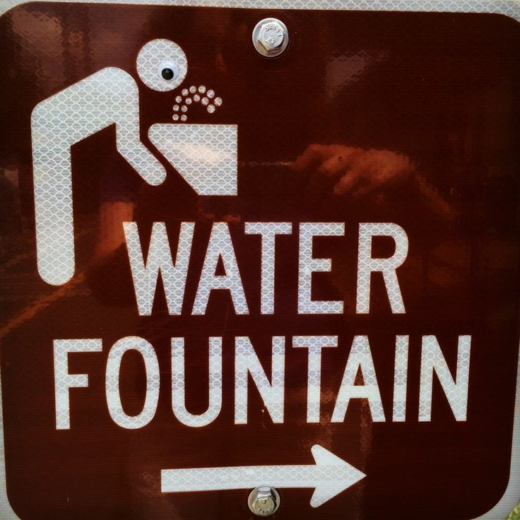 A googly-eyed water fountain sign, spotted in Herndon Virginia