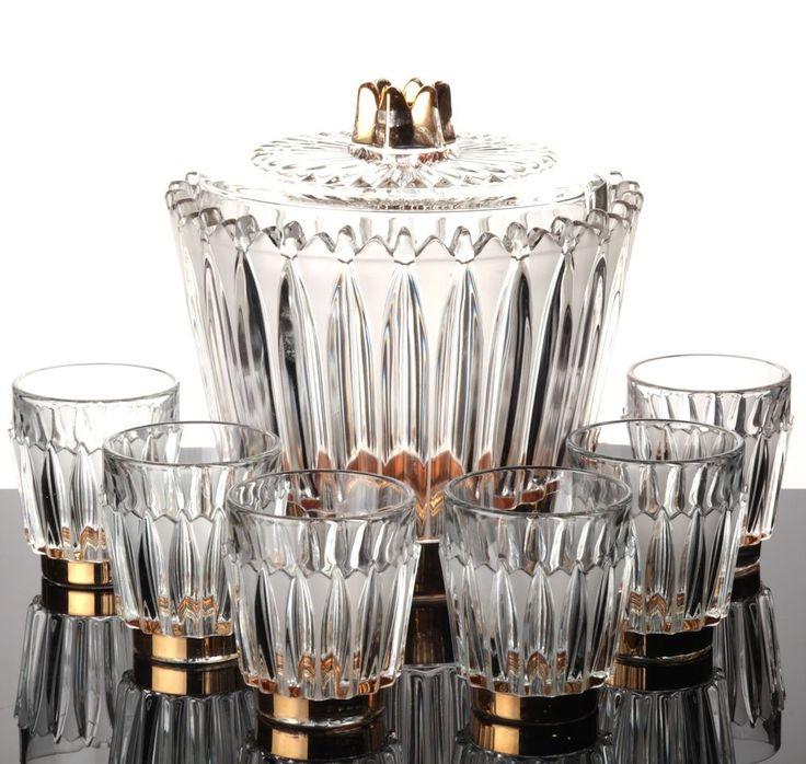 Bowle Service Gefäß + 6 Gläser Bleikristall Gold Dekor Kristall Glas Becher matt