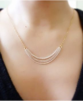 Layered Multi Chain Necklace-Two Tone Chain by MomentusNY on Etsy
