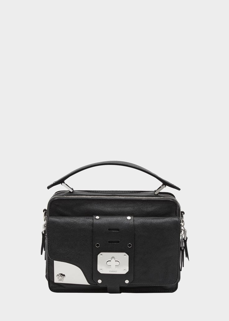Versace Small Stardvst Satchel for Women | US Online Store. Small Stardvst Satchel from Versace Women's Collection. Small dual-carry supple leather satchel with a top handle and shoulder strap that can be worn across the body. Features external pocket with guitar strap-inspired elements and metal accents. The inner pockets comfortably fit any smartphone.