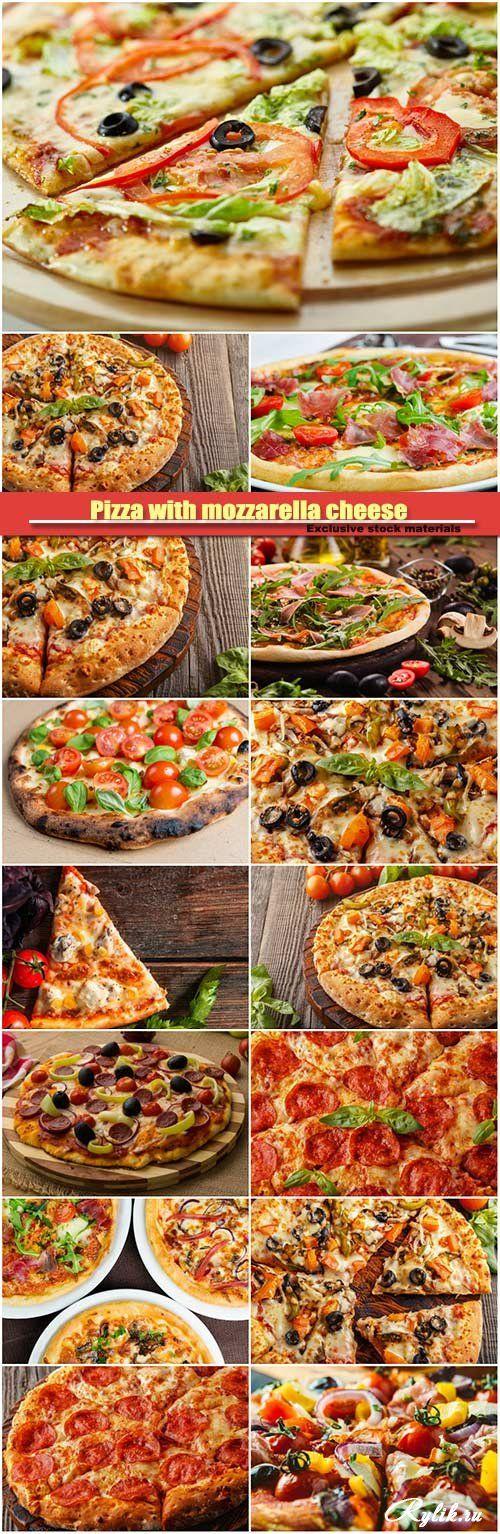 Аппетитная пицца с сыром, беконом, помидорами и грибами фото