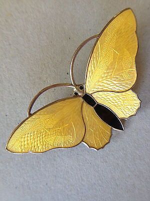 Large Sterling Yellow Black Enamel Butterfly Pin/Brooch Aksel Holmsen Norway