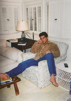 JFK Jr. in JFK's sunroom in Hyannis.  He and Carolyn spent a lot of time in his parents' seaside home the last years of his life.