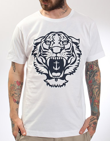"""The Hold Fast Tiger tee shirt is inspired by indigenous tattoos of the far East. This Tiger brings strength and courage to the wearer. The Nautical theme of the SS12 collection is kept true by the Hold Fast anchor and the Print colour. """"He who rides the Tiger is afraid to dismount."""" - Chinese Proverb. #holdfast"""