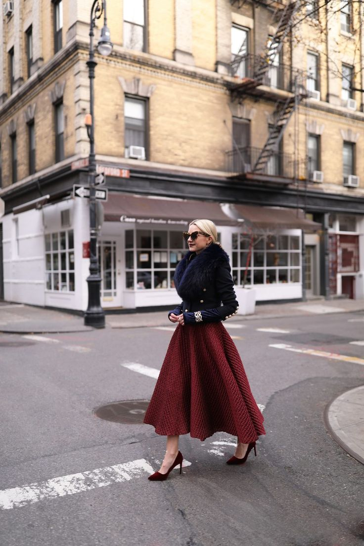 Blair Eadie // Atlantic-Pacific blog NYC holiday outfit, skirt, navy and maroon, velvet pumps