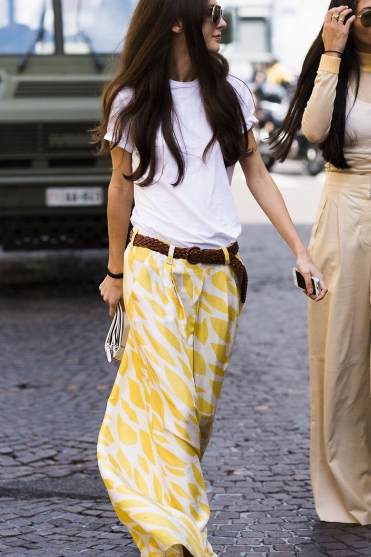 Style love | Comfy white t-shirt, yellow print maxi skirt, with woven belt. #streetsyle
